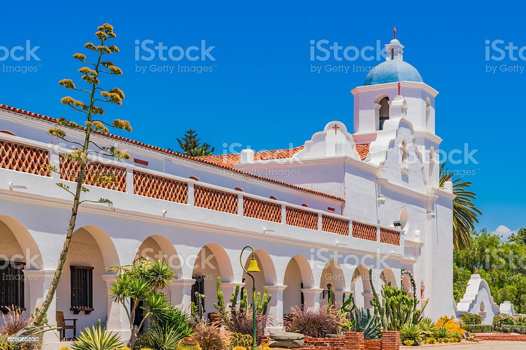 Historic Mission San Luis Rey spanish architecture, CA stock photo
