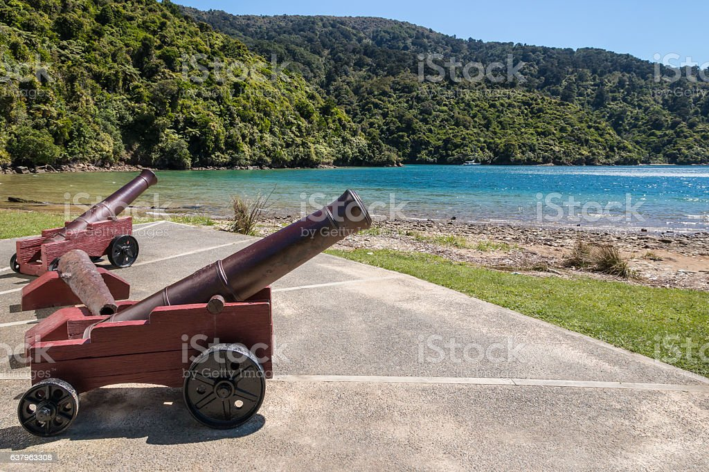 historic monument at Ship Cove in Marlborough Sounds, New Zealand stock photo