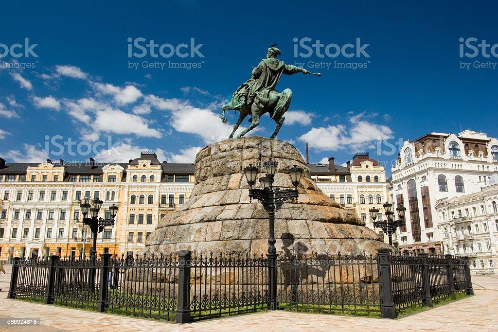 Historic monument of famous Ukrainian Hetman Bogdan Khmelnitsky stock photo