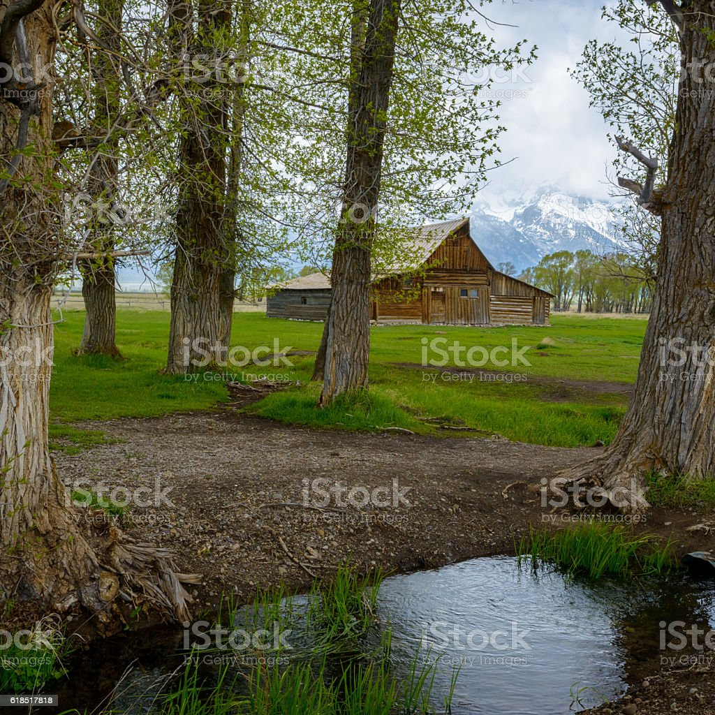 historic Moulton barn in Grand Teton National Park, Wyoming stock photo