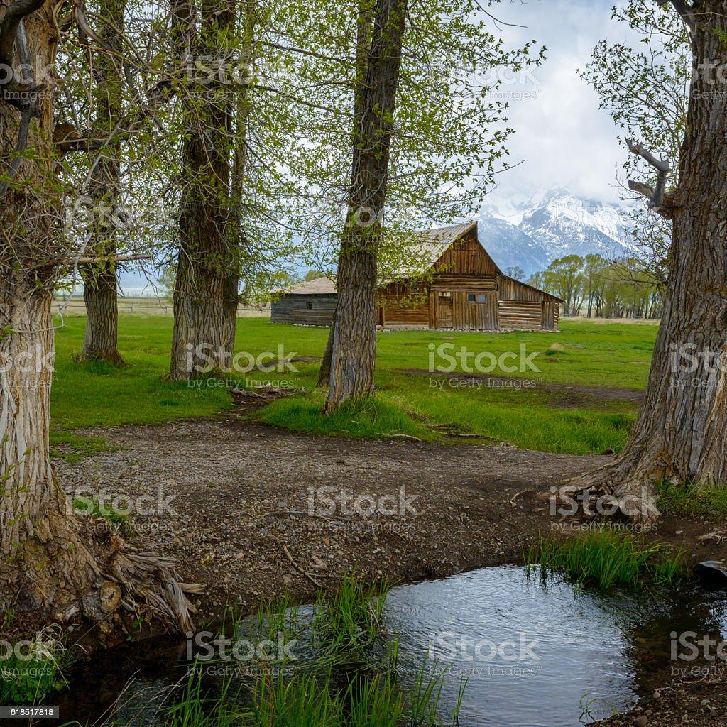 historic Moulton barn in Grand Teton National Park, Wyoming stock photo