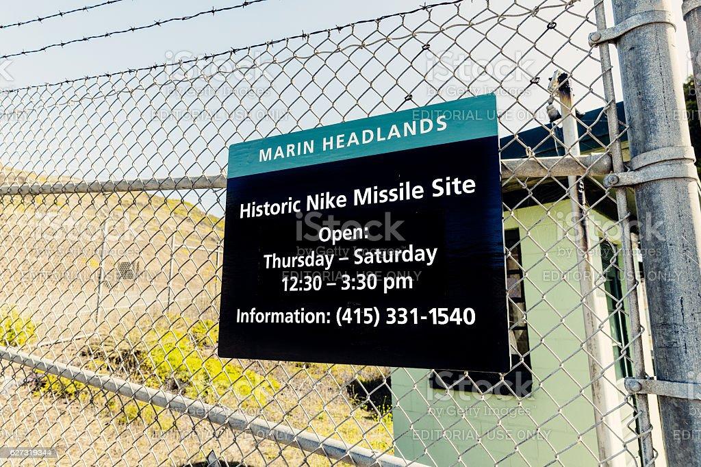 Historic Nike Missile Site sign, San Francisco, USA stock photo