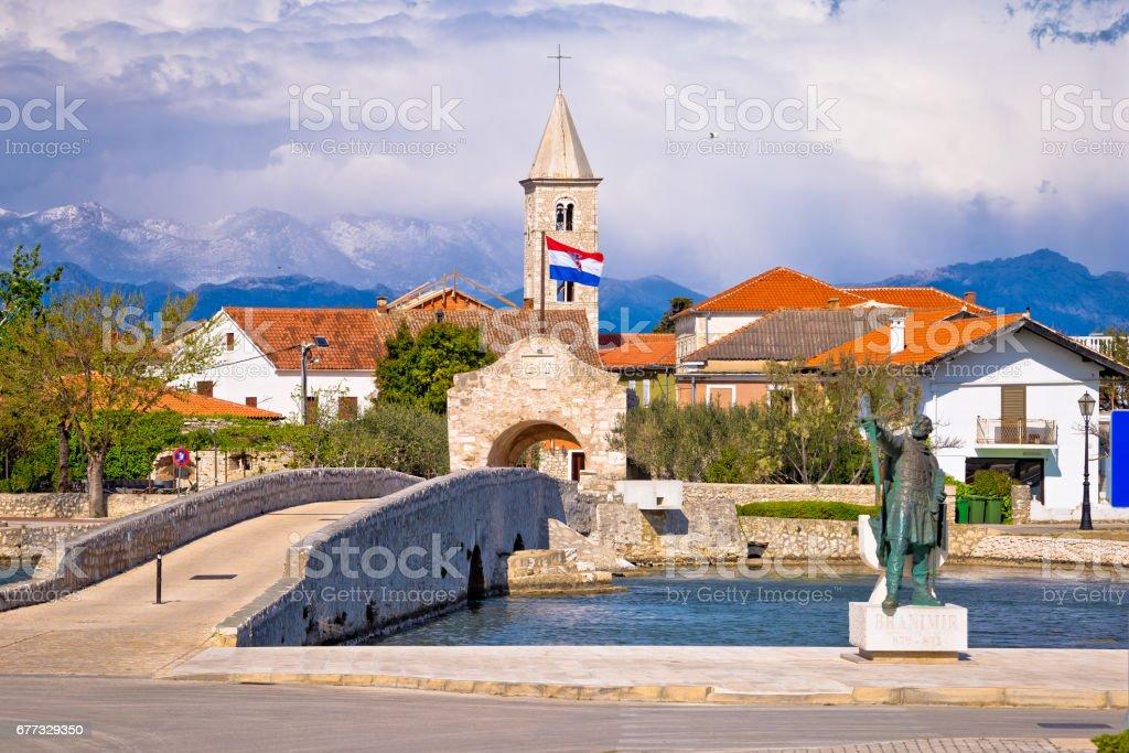 Historic Nin town bridge and gate, Dalmatia, Croatia stock photo