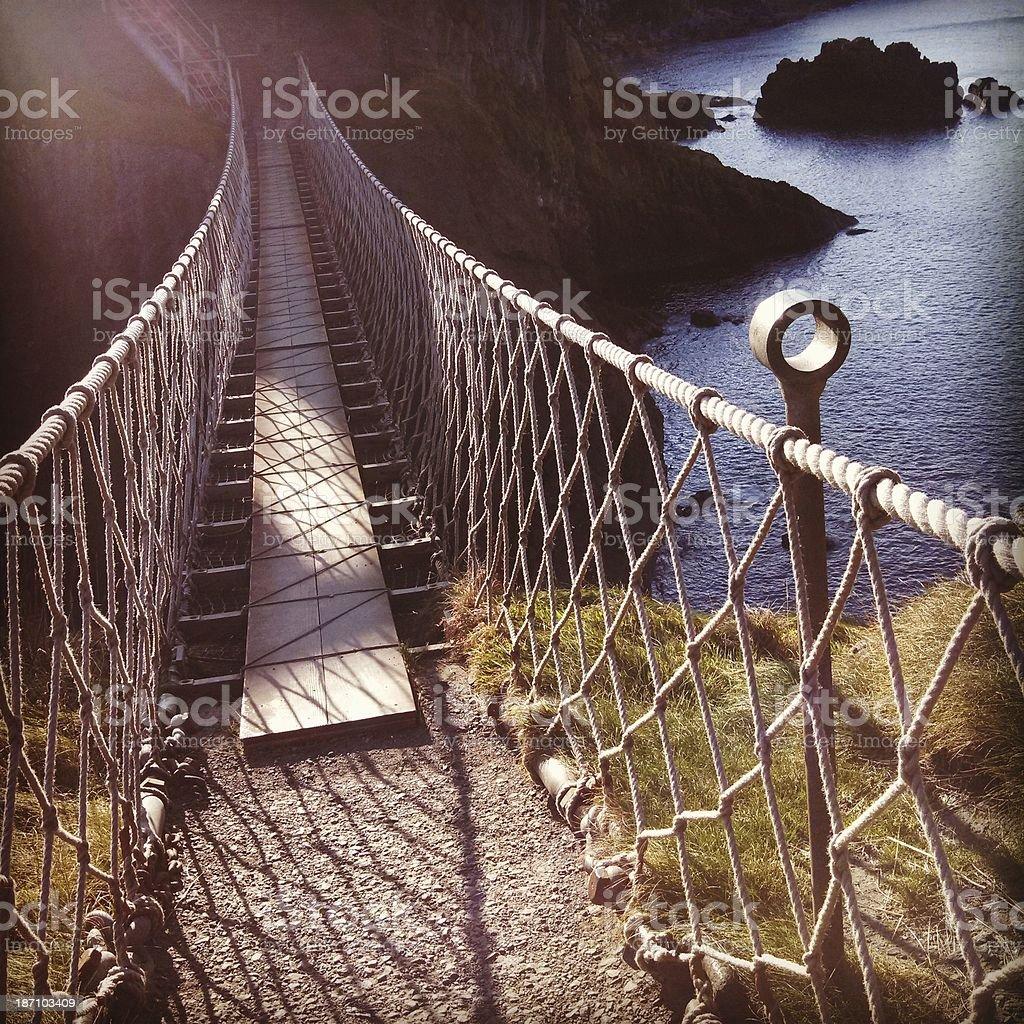 Historic Northern Ireland Carrick-a-Rede Rope Bridge stock photo
