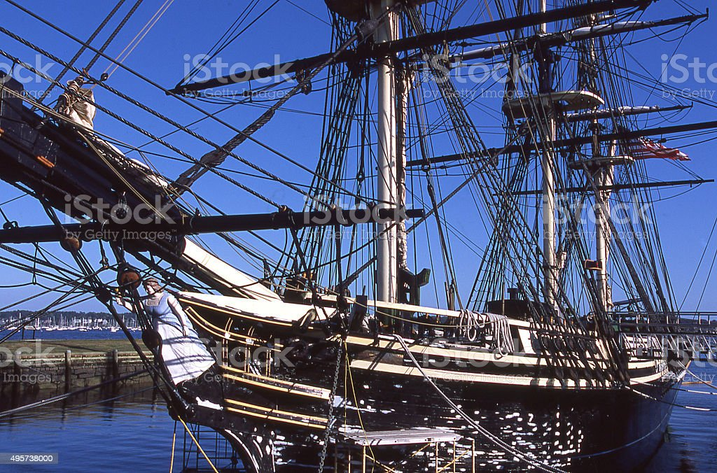Historic old sailing ship in Mystic Harbor Connecticut stock photo