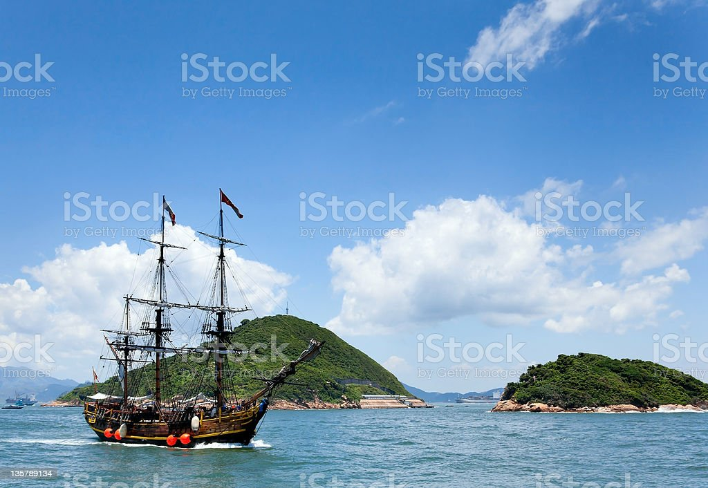 Historic old ship in the ocean royalty-free stock photo