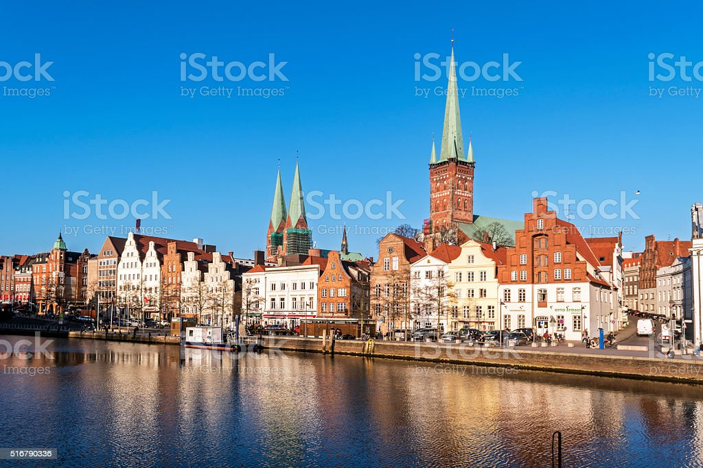Historic old town luebeck at the river trave, tourism attraction stock photo