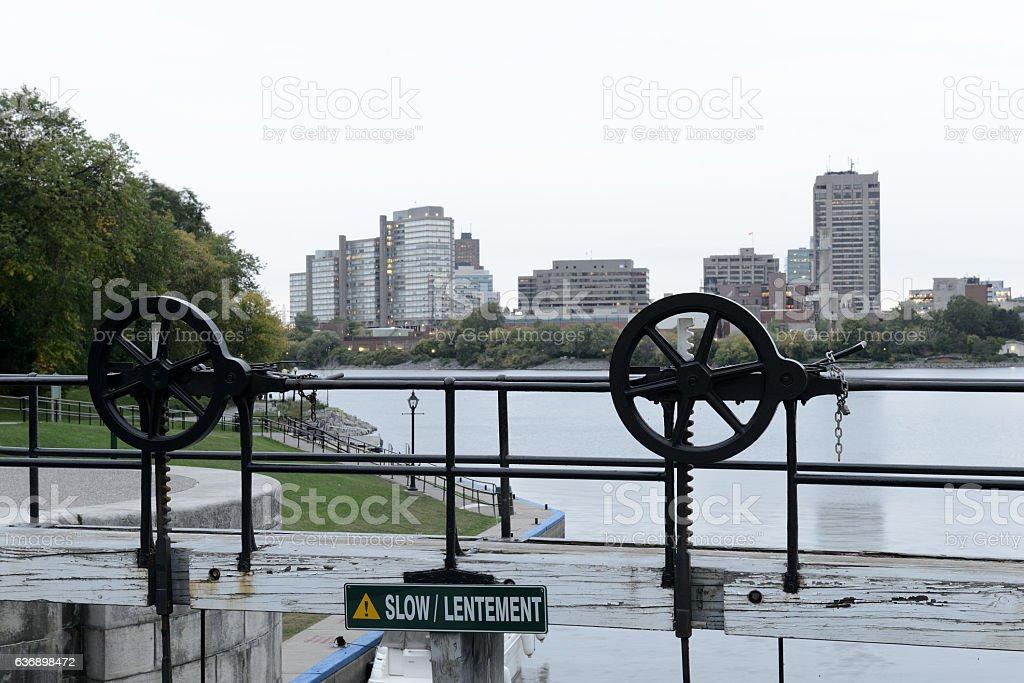 Historic Ottawa Lock in Rideau Canal stock photo