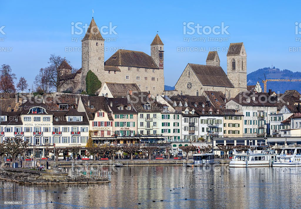Historic part of the town of Rapperswil in Switzerland stock photo