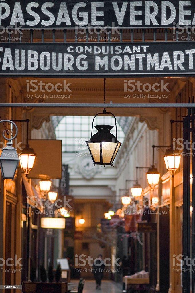 Historic Passage Couverts, Paris stock photo