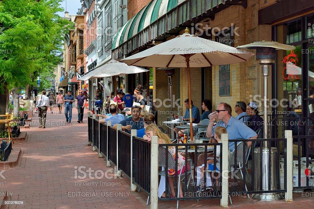 Historic Pearl Street Mall in Boulder Colorado stock photo