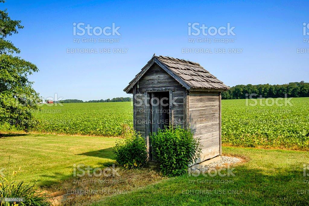 Historic Pioneer farm wooden cabin near Topeka, Indiana stock photo
