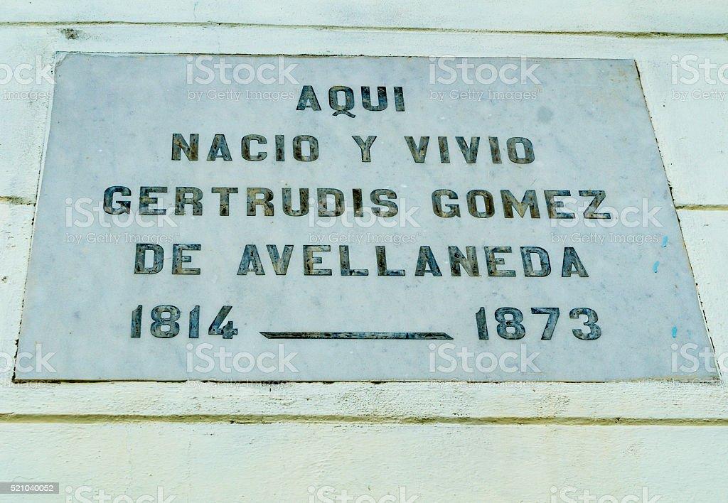 Historic Plaque in Natal House of Gertrudis Gomez de Avellaneda stock photo