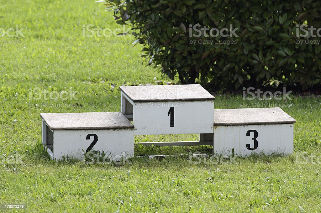 historic podium for the awards of athletics royalty-free stock photo