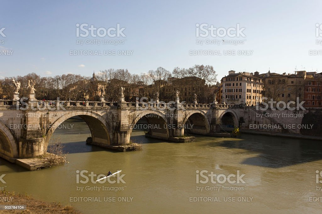 Historic Ponte Sant'Angelo in Rome, Italy, and the Tiber River stock photo