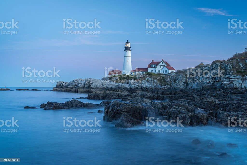 Historic Portland Lighthouse at Cape Elizabeth, Maine royalty-free stock photo