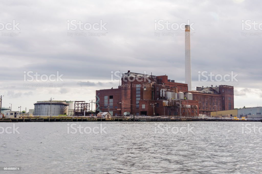 Historic power plant in New Bedford stock photo