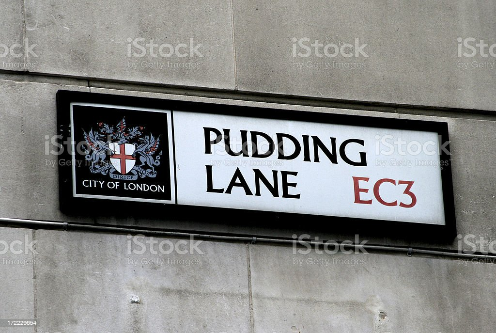Historic Pudding Lane (Great Fire of London) stock photo