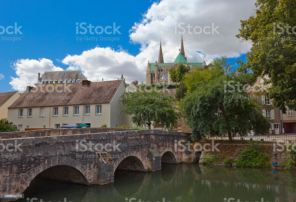 Historic quarter of Chartres, France stock photo