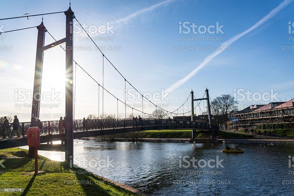 Historic Quayside, Footbridge, Exeter, Devon, England, UK stock photo