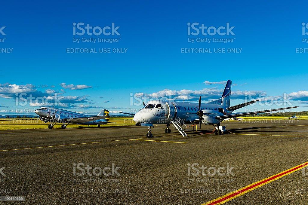 Historic RAAF DC-3 Dakota and REX airplane stock photo