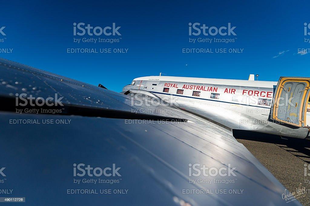 Historic RAAF DC-3 Dakota on Tarmack stock photo