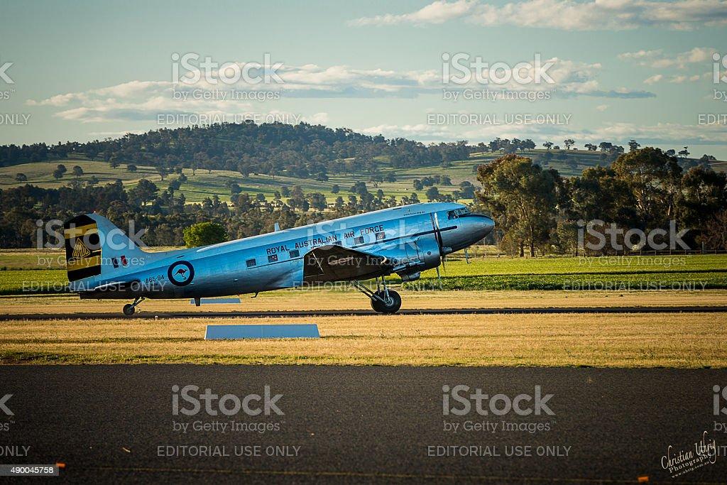 Historic RAAF DC-3 Dakota take off stock photo