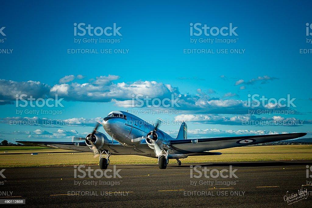 Historic RAAF DC-3 Dakota taxi to runway stock photo