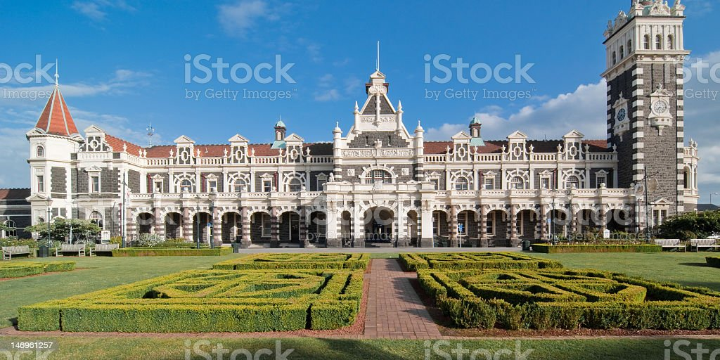 Historic Rail Station in Dunedin, New Zealand royalty-free stock photo