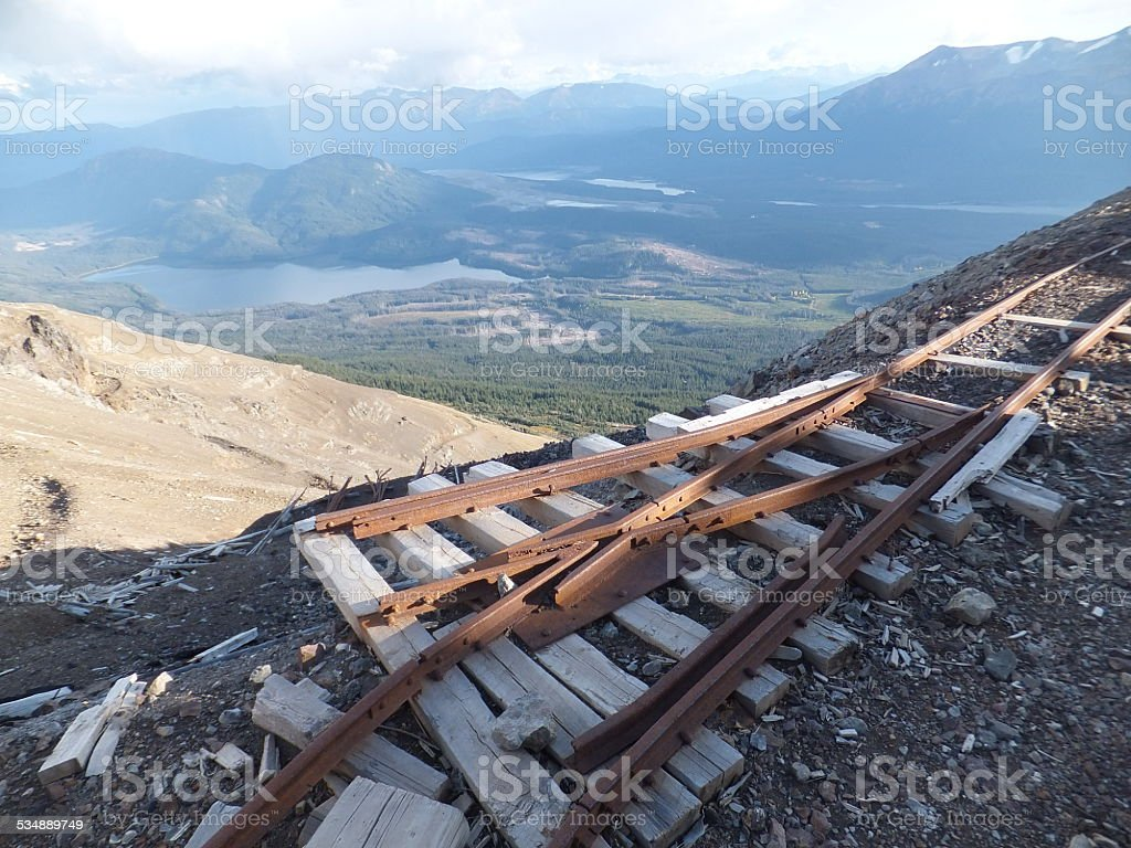 Historic rail track on a edge of a cliff stock photo