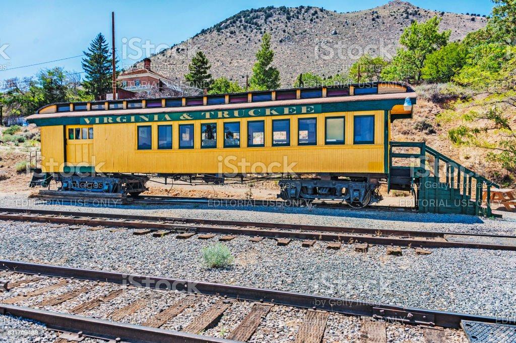 Historic Railroad Car Virginia City Nevada stock photo