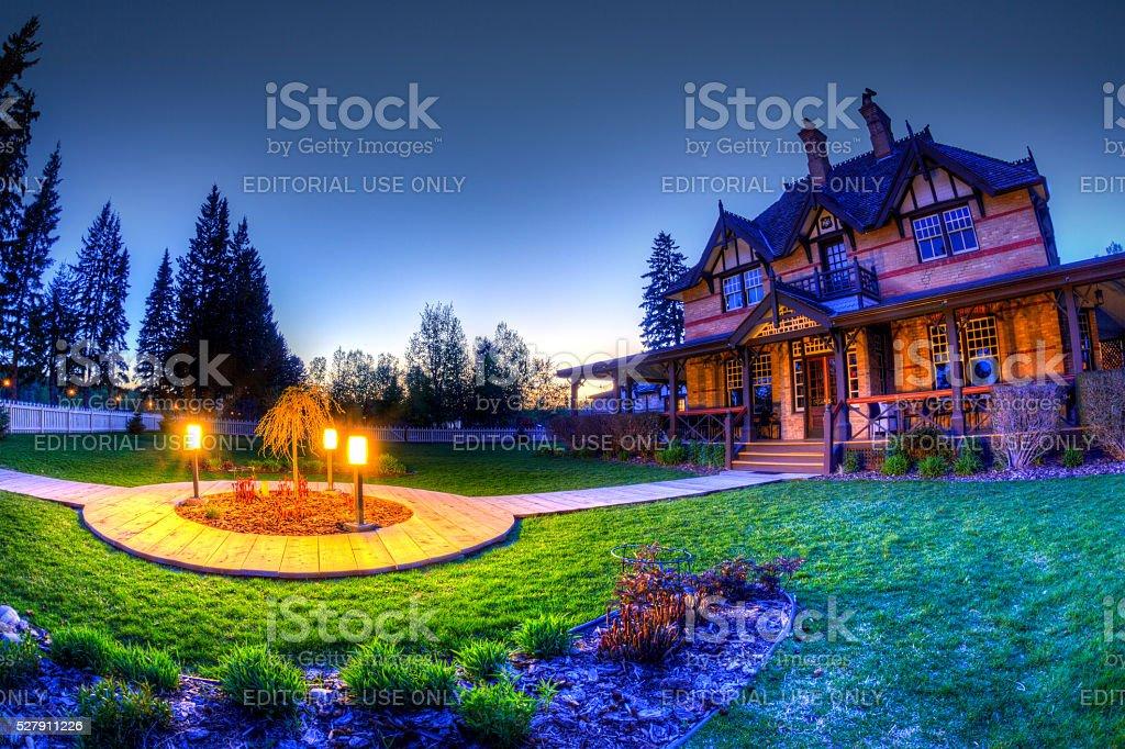 Historic Ranche House at Fish Creek Provincial Park stock photo