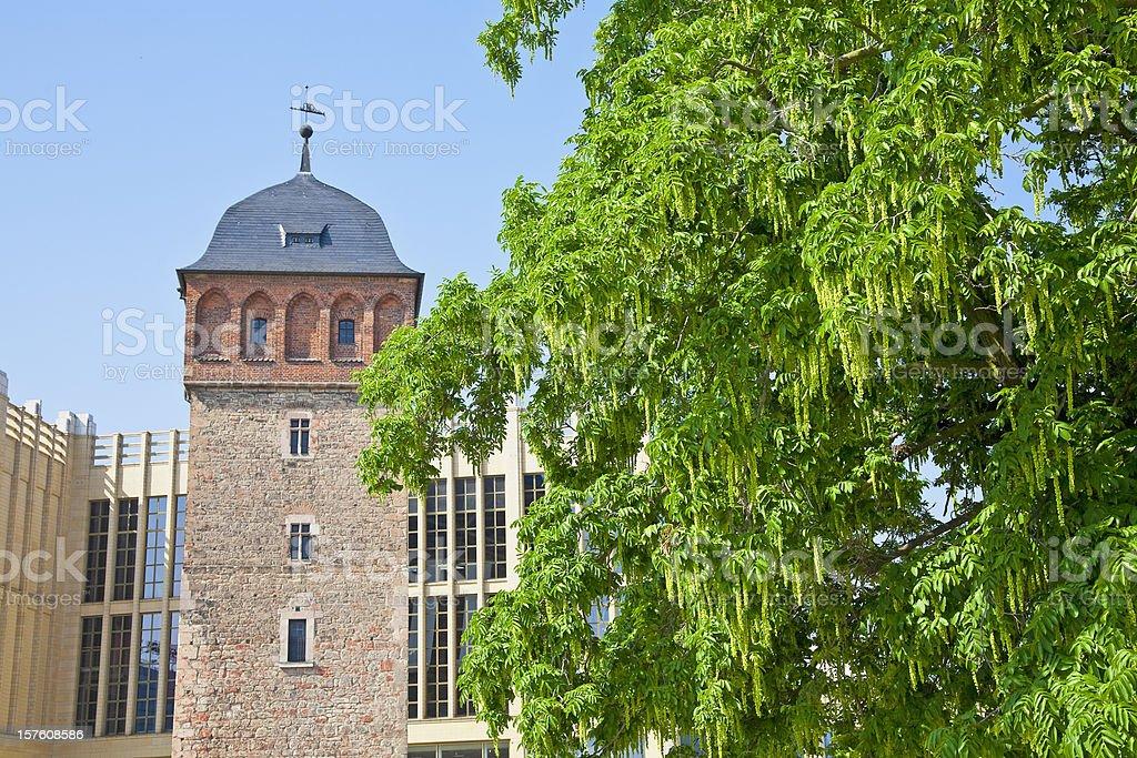 Historic Red Tower of city Chemnitz/Germany stock photo