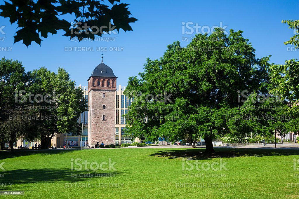 Historic Red Tower of city Chemnitz/Germany stock photo