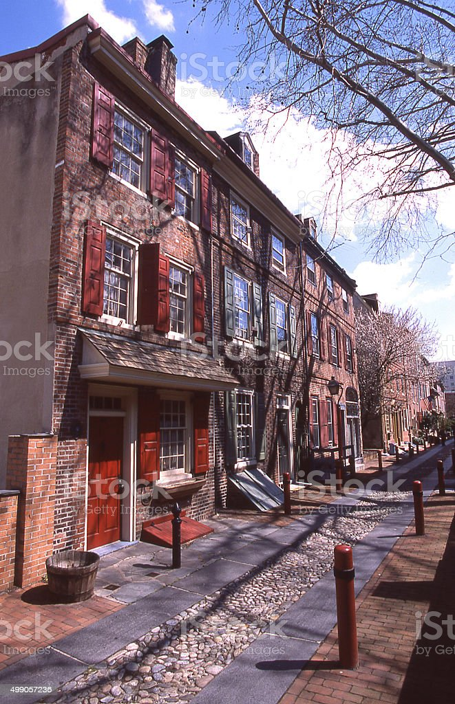 Historic restored Bladens Court and Row Houses Philadelphia Pennsylvania stock photo