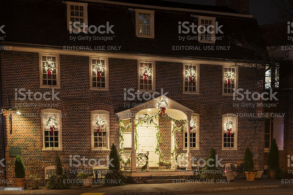 Historic Reynold's Tavern in Annapolis during a Holiday Evening royalty-free stock photo