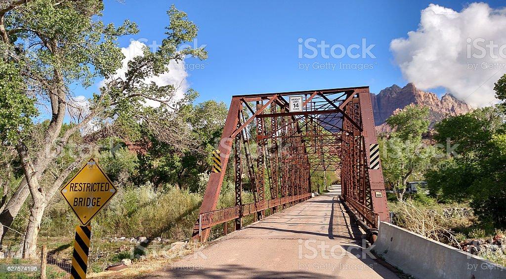 Historic Rockville Bridge built by Zion National Park Rockville Utah stock photo