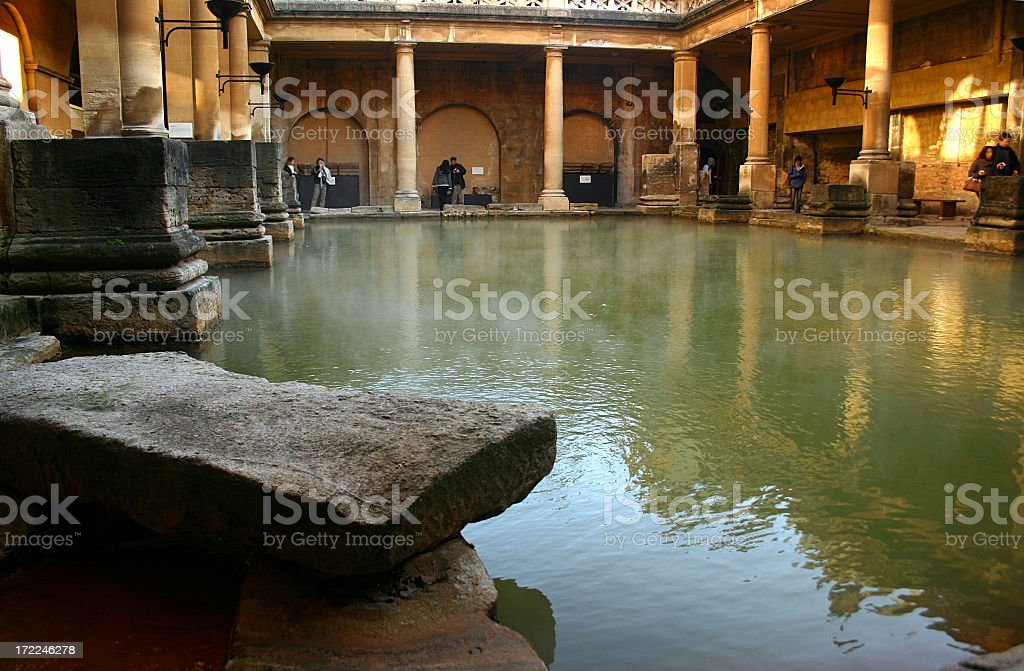 Historic Roman Bath Healing Mineral Waters in England UK stock photo