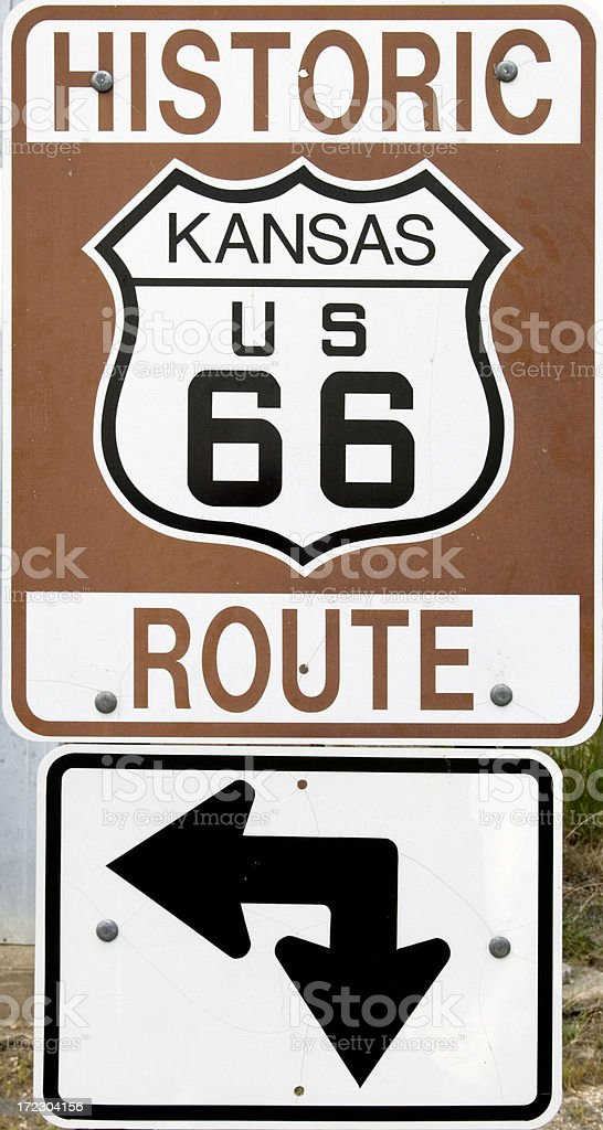 Historic Route 66 Intersection Sign royalty-free stock photo