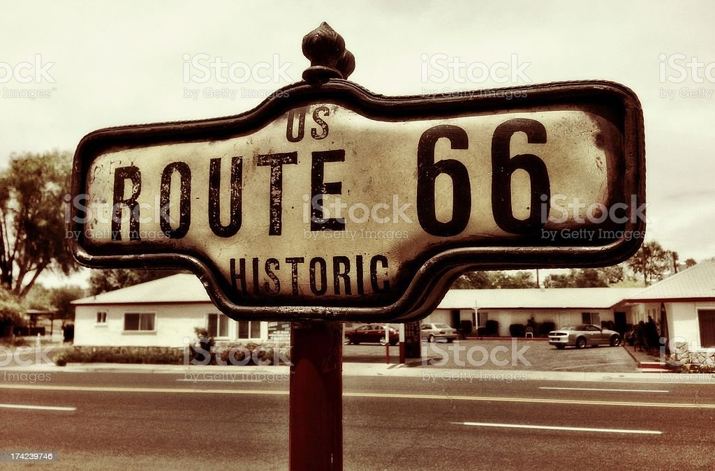 Historic Route 66 road sign in Arizona stock photo