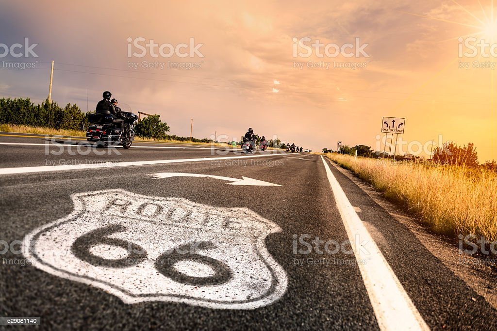 Historic Route 66 Road Sign stock photo