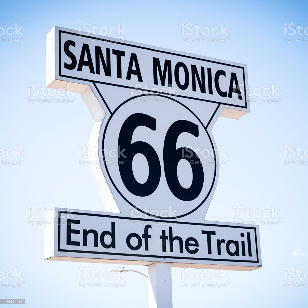 Historic Route 66 sign at Santa Monica California stock photo