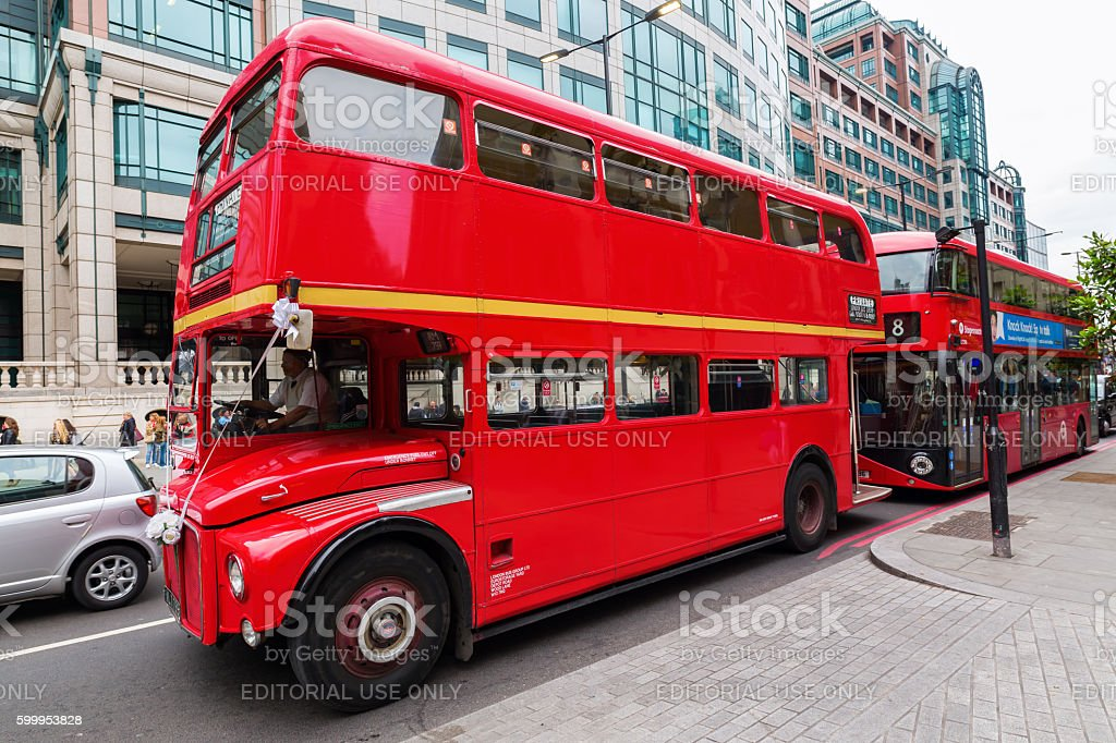 historic routemaster bus decorated for a wedding in London, UK stock photo