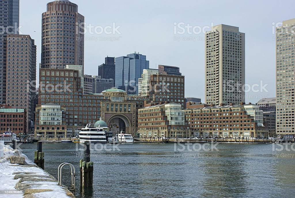 historic Rowes wharf with ships in south boston massachusetts royalty-free stock photo
