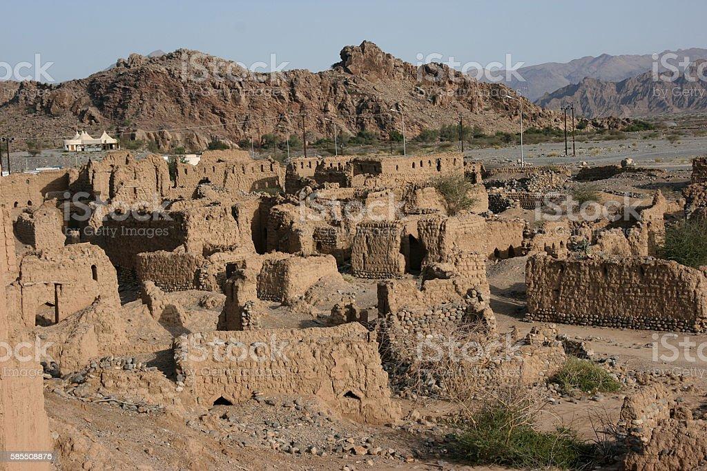 Historic ruins in Tanuf, Oman stock photo