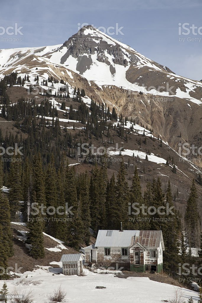 Historic San Juan Mountains mining community Ouray Colorado vert stock photo