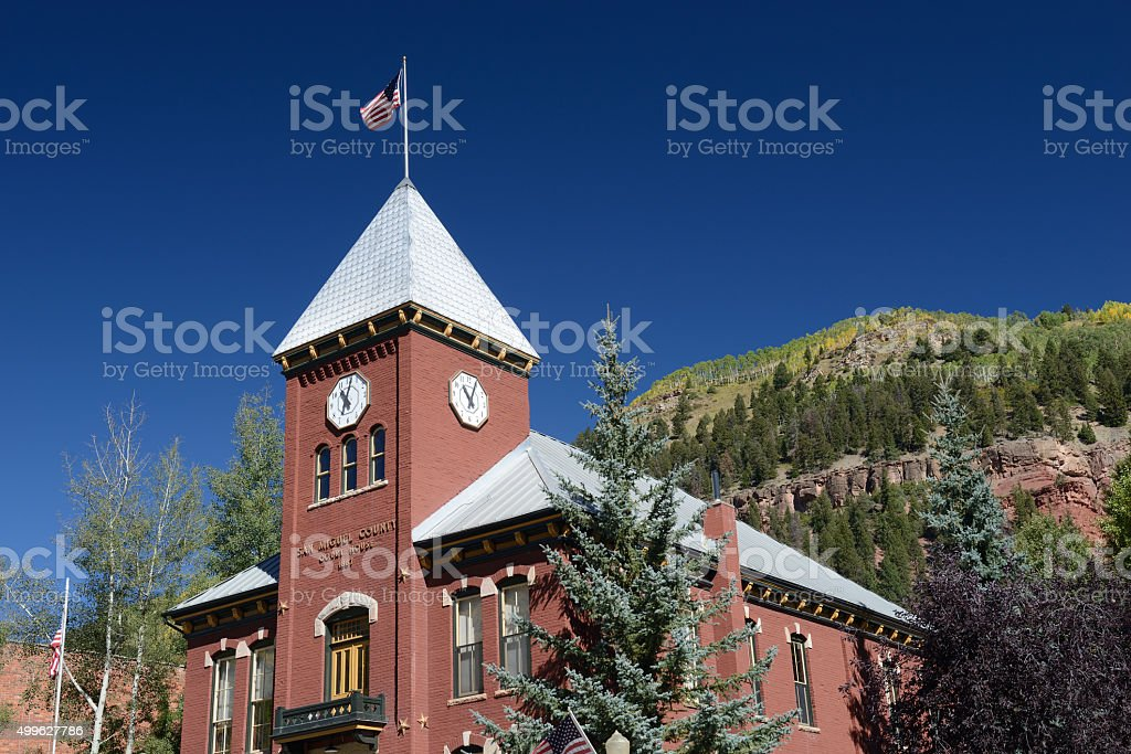 Historic San Miguel County Court House in Telluride stock photo