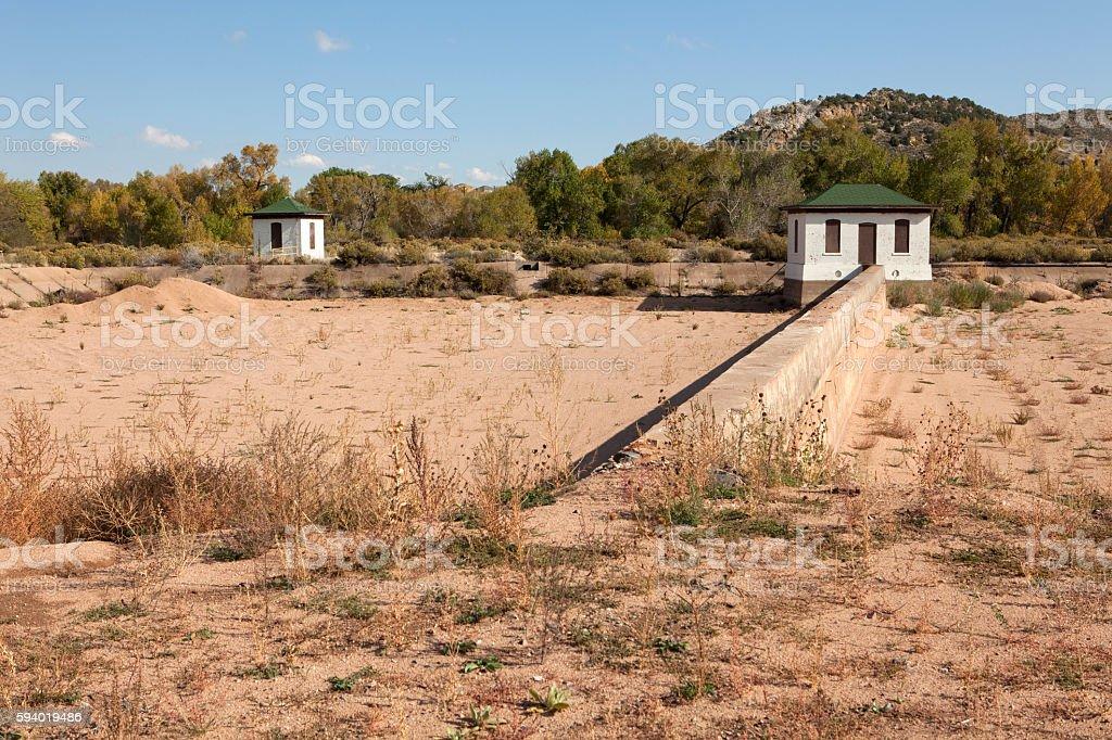 Historic sand water filtration treatment buildings Waterton Canyon Littleton Colorado stock photo