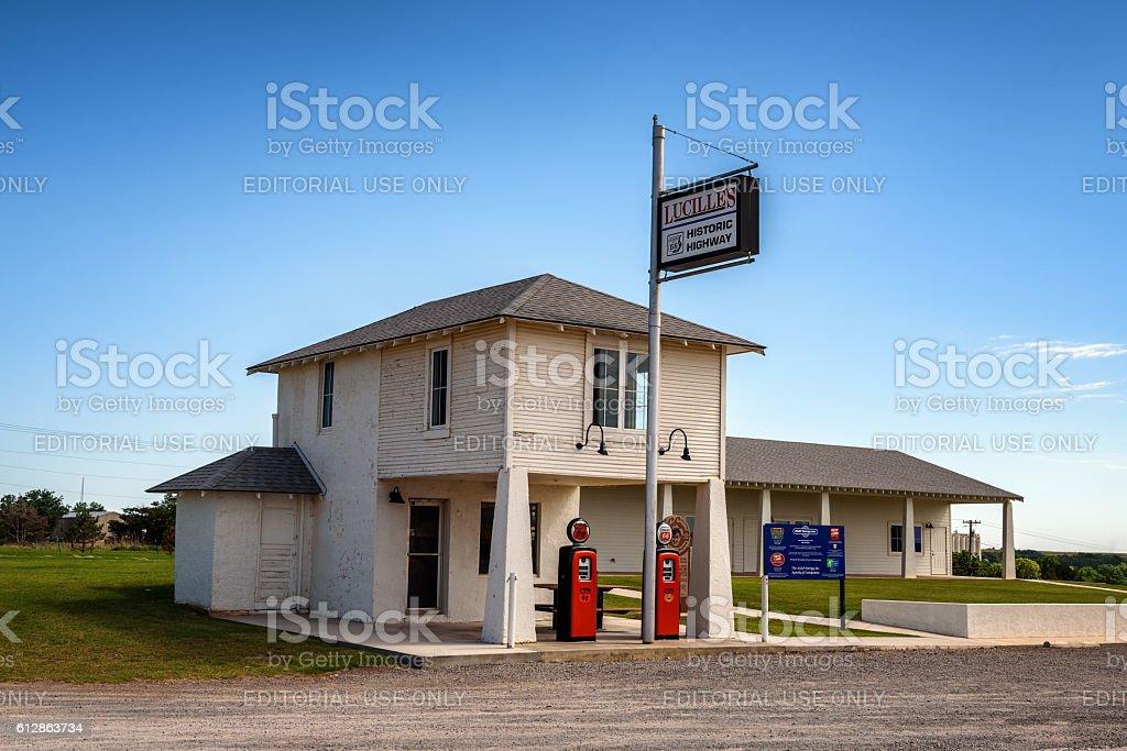 Historic Service Station along Route 66 near Hydro, Oklahoma stock photo
