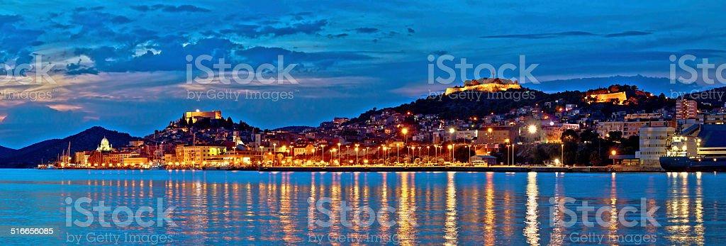 Historic Sibenik waterfront evening panorama stock photo
